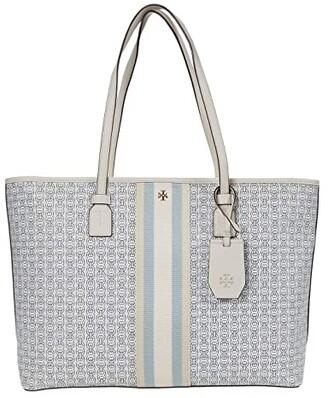 Tory Burch Gemini Link Canvas Top Zip Tote (New Ivory Gemini Link) Handbags