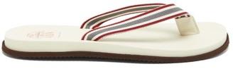 Brunello Cucinelli Striped-grosgrain Rubber Flip Flops - Grey