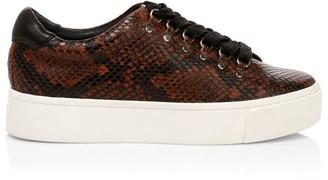 Joie Handan Snakeskin-Embossed Leather Platform Sneakers