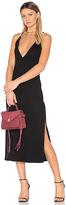 Lanston Slit Cami Midi Dress in Black. - size M (also in S,XS)