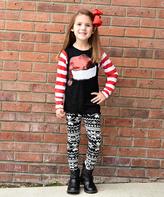 Beary Basics Black & Red Snowman Hat Tee & Leggings - Toddler & Girls