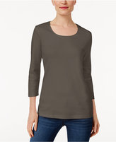 Karen Scott Three-Quarter-Sleeve Top, Only at Macy's