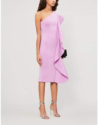 Lavish Alice Frill-trimmed asymmetric woven midi dress