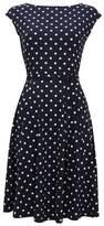 Wallis Navy Polka Dot Print Fit and Flare Dress