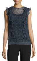 DKNY Minny Cap-Sleeve Printed Silk Chiffon Blouse, Black
