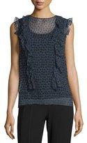 DKNY Minny Cap-Sleeve Printed Silk Chiffon Blouse, Black