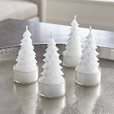 Crate & Barrel White Tree Tealight Candles, Set of 4