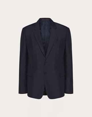 Valentino 2-button Jacket With Stitched Vlogo Man Navy Mohair 60%, Virgin Wool 40% 44