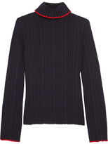 MSGM Ribbed Wool Turtleneck Sweater - Navy