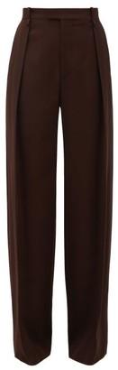 Bottega Veneta High-rise Wide-leg Wool Trousers - Dark Brown