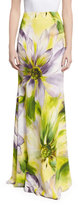 Naeem Khan Floral Long Flared Skirt, Lilac/Multicolor