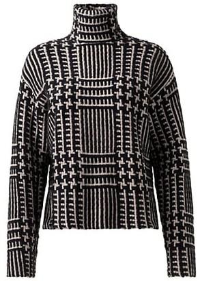 Akris Cashmere & Silk Jacquard Turtleneck Sweater