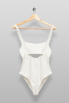 MinkPink Womens **White Cut Out Swimsuit By Mink Pink - White