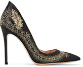 Gianvito Rossi Dragon Embroidered Satin Pumps - Black