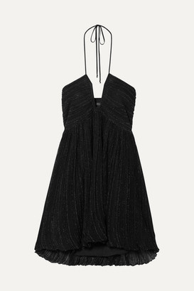 Isabel Marant Babs Metallic Knitted Halterneck Mini Dress - Black