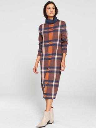 Very Check Roll Neck Midi Dress - Multi