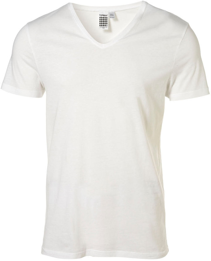 Topman White Vee Neck T-Shirt