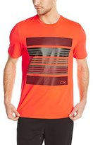 Calvin Klein Men's Short Sleeve Crew Neck Tee with Refelctive Stripe Print