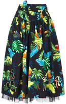 Marc Jacobs parrot print belted full skirt - women - Silk/Cotton/Polyester/Spandex/Elastane - 2