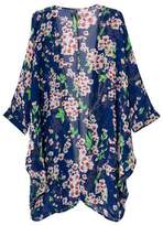 Dovia Women's Floral Print Sheer Chiffon Loose Kimono Cardigan Cover-up