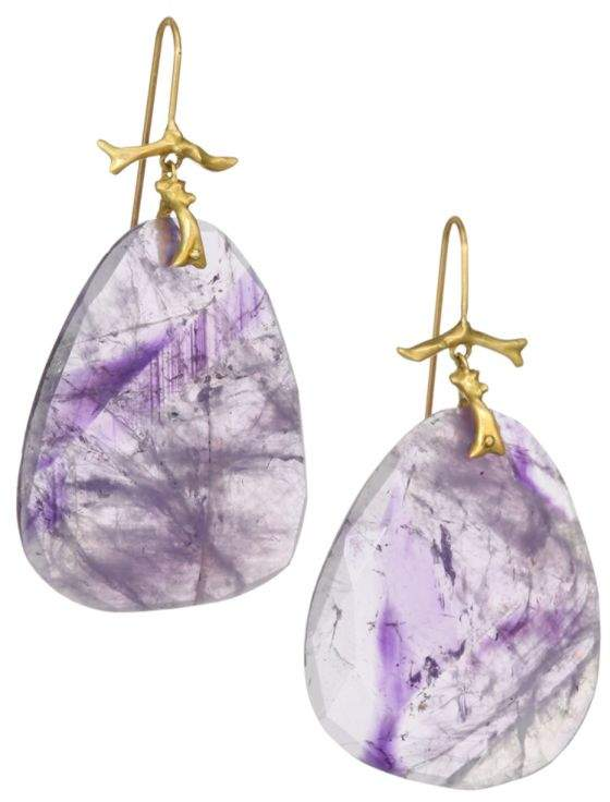 Annette Ferdinandsen Organic 18K Yellow Gold & Amethyst Earrings