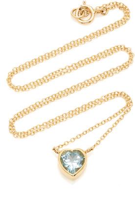 Katey Walker Tiny Heart 18K Gold and Topaz Necklace