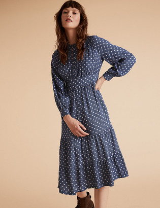 Marks and Spencer Geometric Blouson Sleeve Midi Waisted Dress