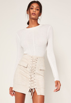 Missguided White Faux Suede Pocket Detail Lace Up Front Mini Skirt
