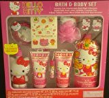 Hello Kitty Bath & Body Set Bubble Bath Wash Shampoo Tattoos Lip Gloss ++