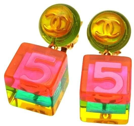 Chanel CC Logo Gold Tone Metal No.5 Pink Cube Dangle Earrings