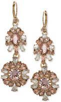 Marchesa Gold-Tone Multi-Crystal Double Drop Earrings