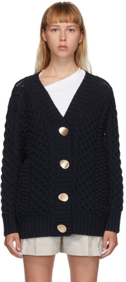 3.1 Phillip Lim Navy Wool Cable Knit Cardigan