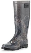 Valentino Lace-Print Rain Boot, Blush