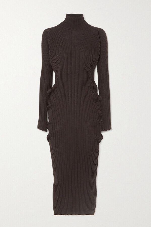 Bottega Veneta Ribbed Wool Turtleneck Midi Dress - Brown