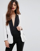 Sisley Longline Tuxedo Jacket With Contrast Color Details