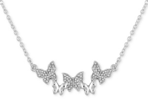 """GUESS Silver-Tone Pave Butterfly Pendant Necklace, 16"""" + 2"""" extender"""