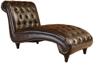 Abbyson Living Mirabello Bonded Leather Chaise Lounge, Brown
