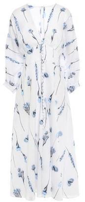 Lela Rose Pinstriped Fil Coupe Cotton-blend Voile Midi Dress