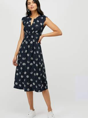 Monsoon Dani Print 100% Linen Midi Dress - Blue