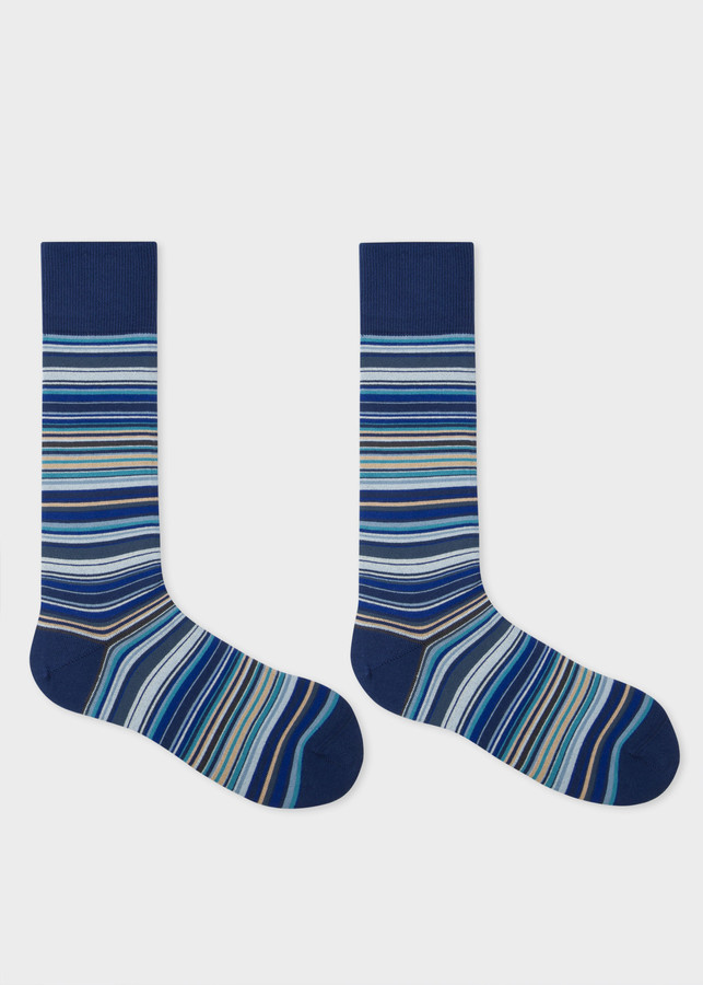 Thumbnail for your product : Men's Sky Blue Signature Stripe Socks