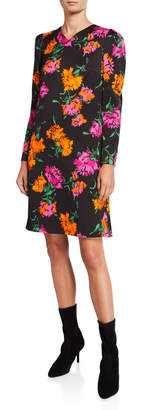 Escada Dleah Floral-Print Crepe Long-Sleeve Dress
