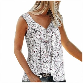 YEBIRAL Short Sleeve Tops for Women Clothes Sale Clearance Fashion V Collar Printed Broken Flowers Sleeveless Leisure Time Shirt Dark Blue