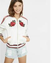 Express Color Block Rose Embroidered Bomber Jacket