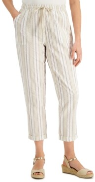 Karen Scott Striped Cuffed Capri Pants, Created for Macy's