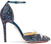 Charlotte Olympia Twilight Princess Satin-trimmed Glittered Leather Pumps - Petrol