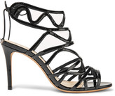 Alexandre Birman Nim Cutout Patent-leather Sandals - Black