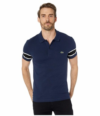 Lacoste Mens Short Sleeve Stretch Pique Semi-Fancy Slim Fit Polo Polo Shirt