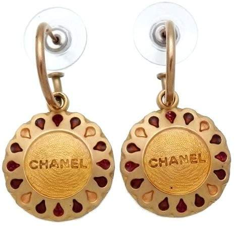 Chanel Logo Gold Tone Metal Round Dangle Stud Earrings