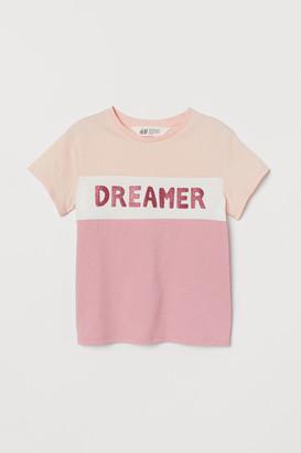 H&M Glitter-print T-shirt - Pink