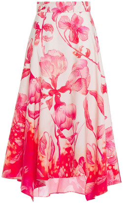 Peter Pilotto Asymmetric Floral-print Cotton-poplin Midi Skirt